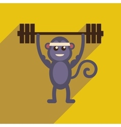 Flat icon with long shadow monkey cartoon vector