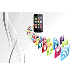 Global iphone apps icons tech background vector