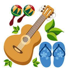 guitar maracas beach flip flops color of a summer vector image vector image