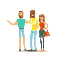 Happy Three Best Friends Having Good Time Together vector image