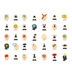 human idea icon set flat style vector image vector image