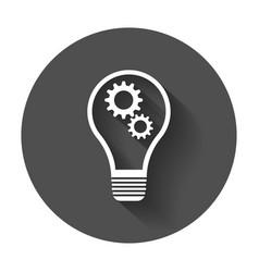 Idea icon flat light bulb icon with long shadow vector