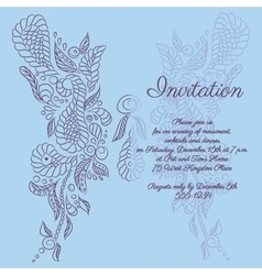 Invitation blue butterfly pattern vector
