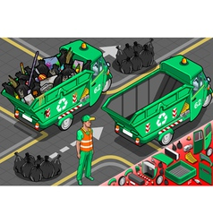 Isometric garbage rickshaw in rear view vector
