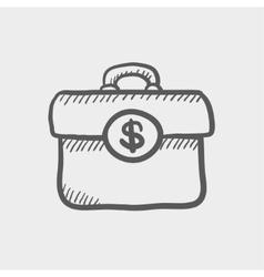 Money suitcase sketch icon vector