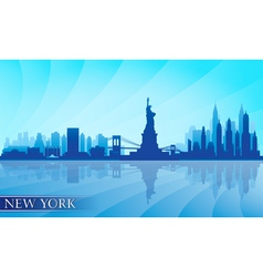 New York city skyline detailed silhouette vector image vector image