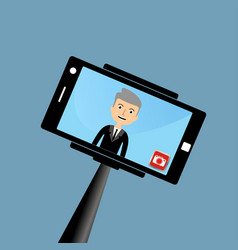 Old businessman making a selfie vector