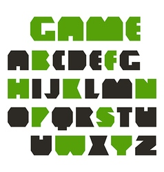 Sans serif geometric plate font vector image