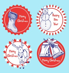 Sketch set of CHristmas labels vector image vector image