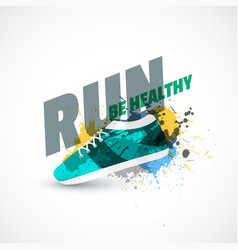 Sport shoes abstract background with ink splash vector
