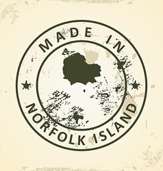 Stamp with map of Norfolk Island vector image