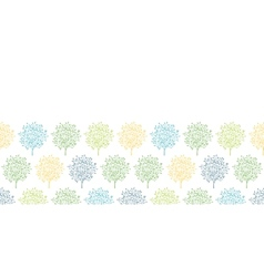 Summer trees colorful horizontal seamless pattern vector