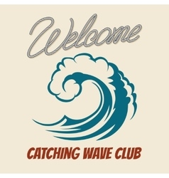 Surfing club emblem with killer wave vector image vector image