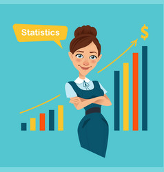Woman stands near board with profit growth chart vector