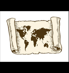 world map on old papyrus paper vector image vector image