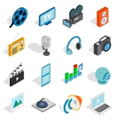 Media icons set isometric 3d style vector image