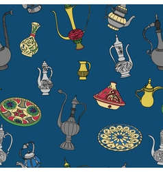 Colorful seamless pattern of arabic crockery vector