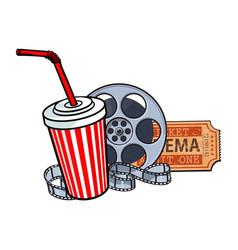 Cinema attributes film reel ticket soda water vector