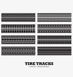 Collection of eight tire tracks marks vector