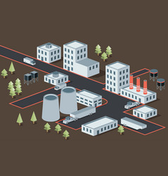 Isometric view of the industrial district vector