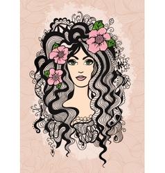 Beautiful hand drawn girl on retro textured vector