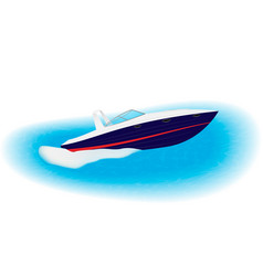 Fast motorboat sails on speed through sea luxury vector