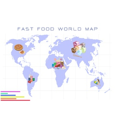 World map with fast food and take away food vector