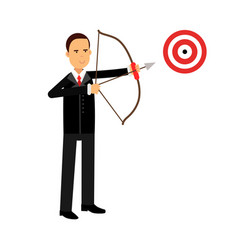 Businessman character aiming target with bow and vector