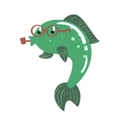 Funny cartoon green fish in glasses smoking pipe vector