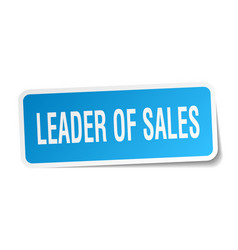 Leader of sales square sticker on white vector