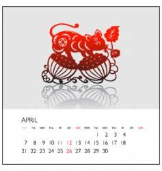 2008 calendar april vector