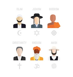 Religion people icons vector