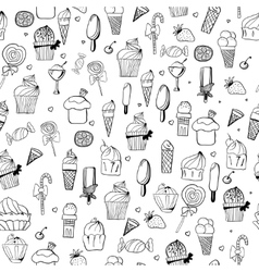 Pattern of ice-creams and cupcake vector