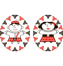 Scottish man and woman in ethnic costume vector
