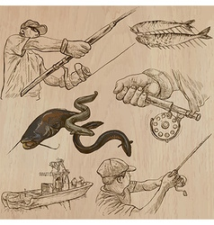 Fishing - an hand drawn pack vector