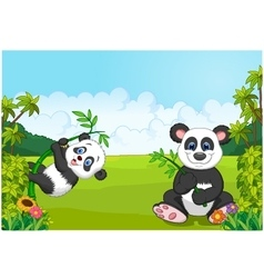 Cartoon mom and baby panda climbing bamboo tree vector image