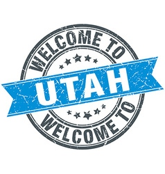 Welcome to utah blue round vintage stamp vector