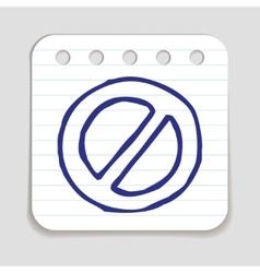 Doodle prohibition icon vector