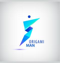 abstract origami man logo leader winner vector image vector image