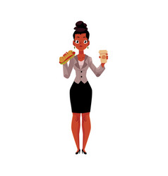 Black african businesswoman eating sandwich for vector