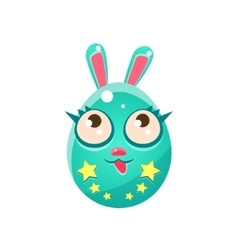 Blue egg shaped easter bunny with eyelashes vector