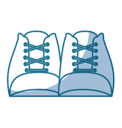 blue silhouette shading of front view shoes with vector image