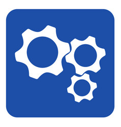 Blue white information sign - three cogwheel icon vector