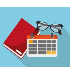 Book calendar glasses and worktime design vector