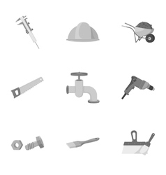 Build and repair set icons in monochrome style vector image