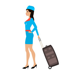 Cartoon stewardess girl with a suitcase vector
