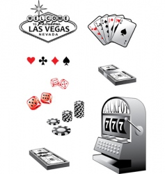 casino elements set vector image