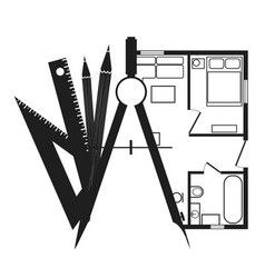 drawing compasses with pencils and a house plan vector image vector image