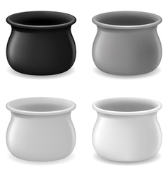 Empty color pots vector