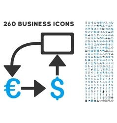 Euro Dollar Flow Chart Icon with Flat Set vector image